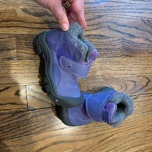 KEEN EUC Purple Gray Fleece Short Boots Toddler 8